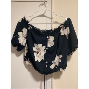Navy blue with white flowers crop top